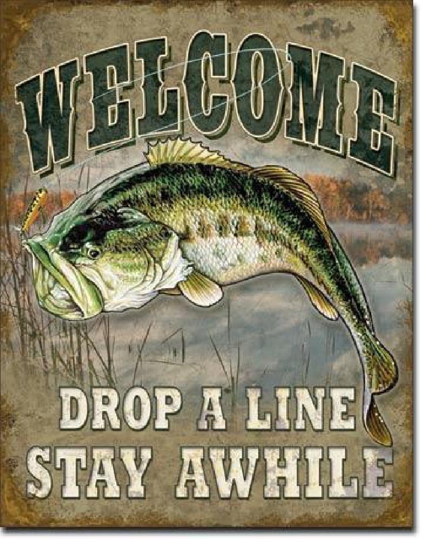 Bass Fishing Fish Camp Cabin Metal Sign