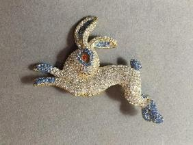 Leaping Spring Rabbit, Bunny Crystal Brooch Pin