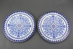 19thc Set of B.W.M. & Co. Flow Blue Dinner Plates