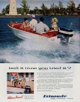 1957 Evinrude Boat Motors Fishing Ad