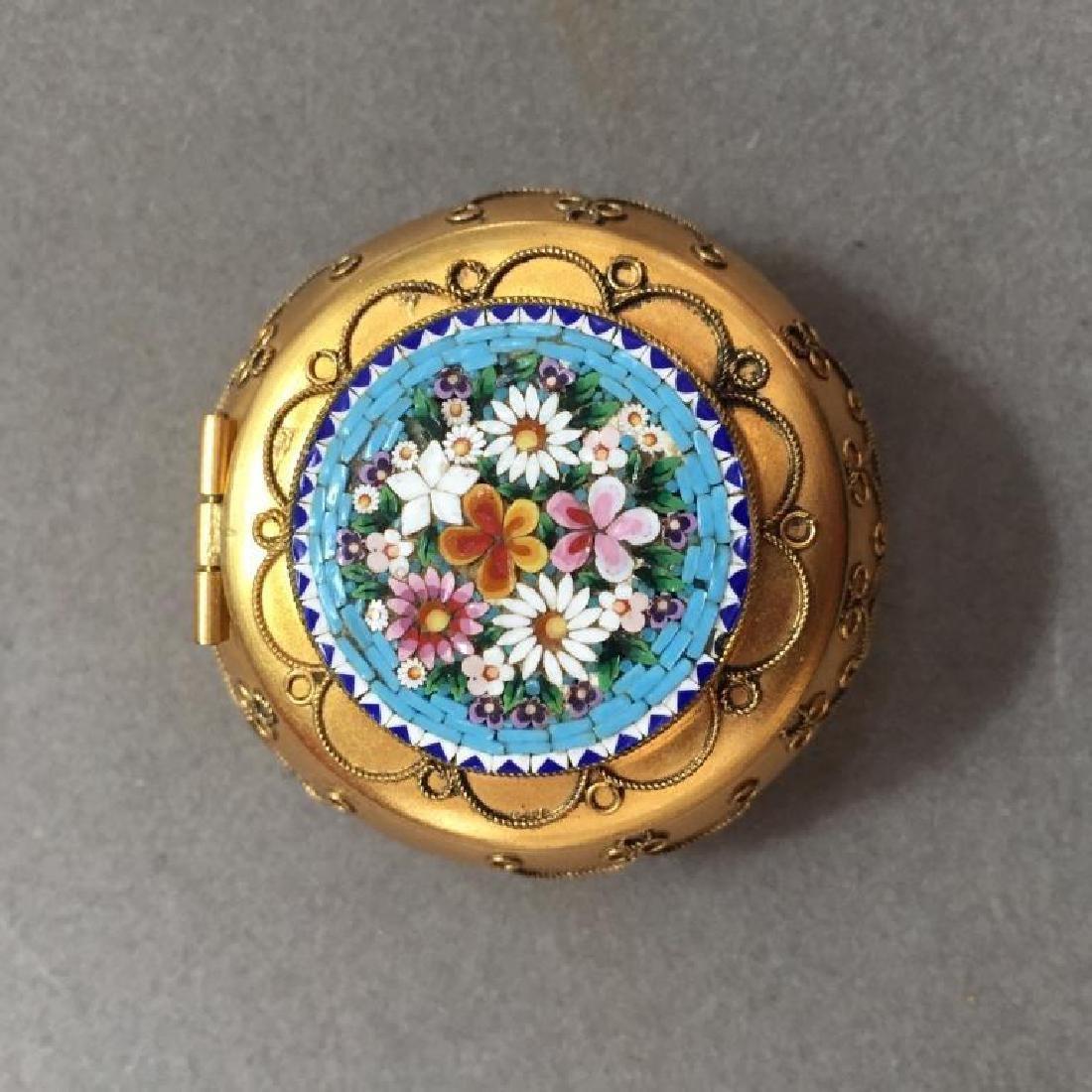 Italian Micro Mosaic Jewel Trinket Pill Box