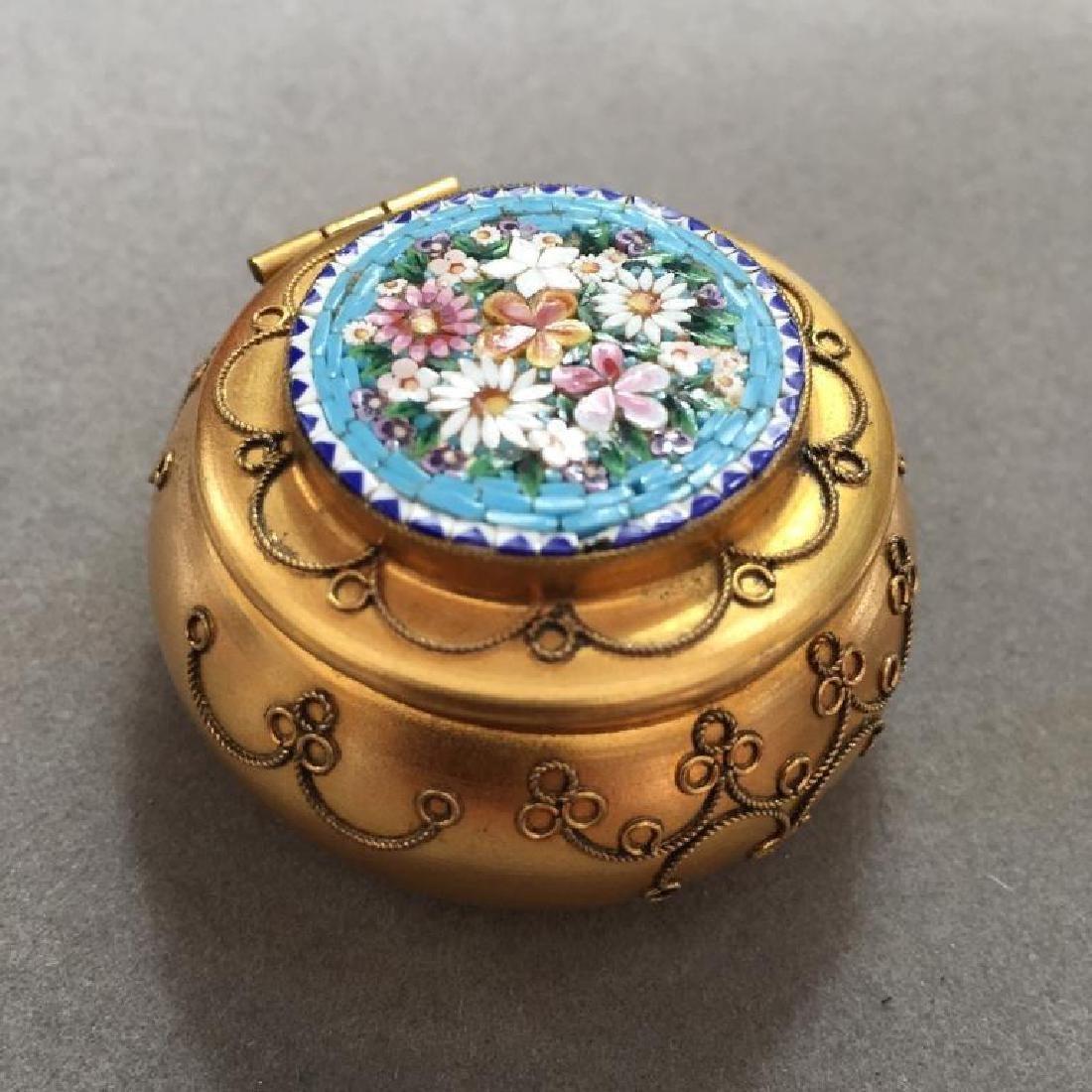 Italian Micro Mosaic Jewel Trinket Pill Box - 3