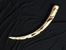 Early 19thc Carved Ivory Tusk