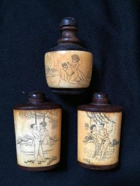 Set of Chinese Bone & Wood Erotic Snuff Bottles