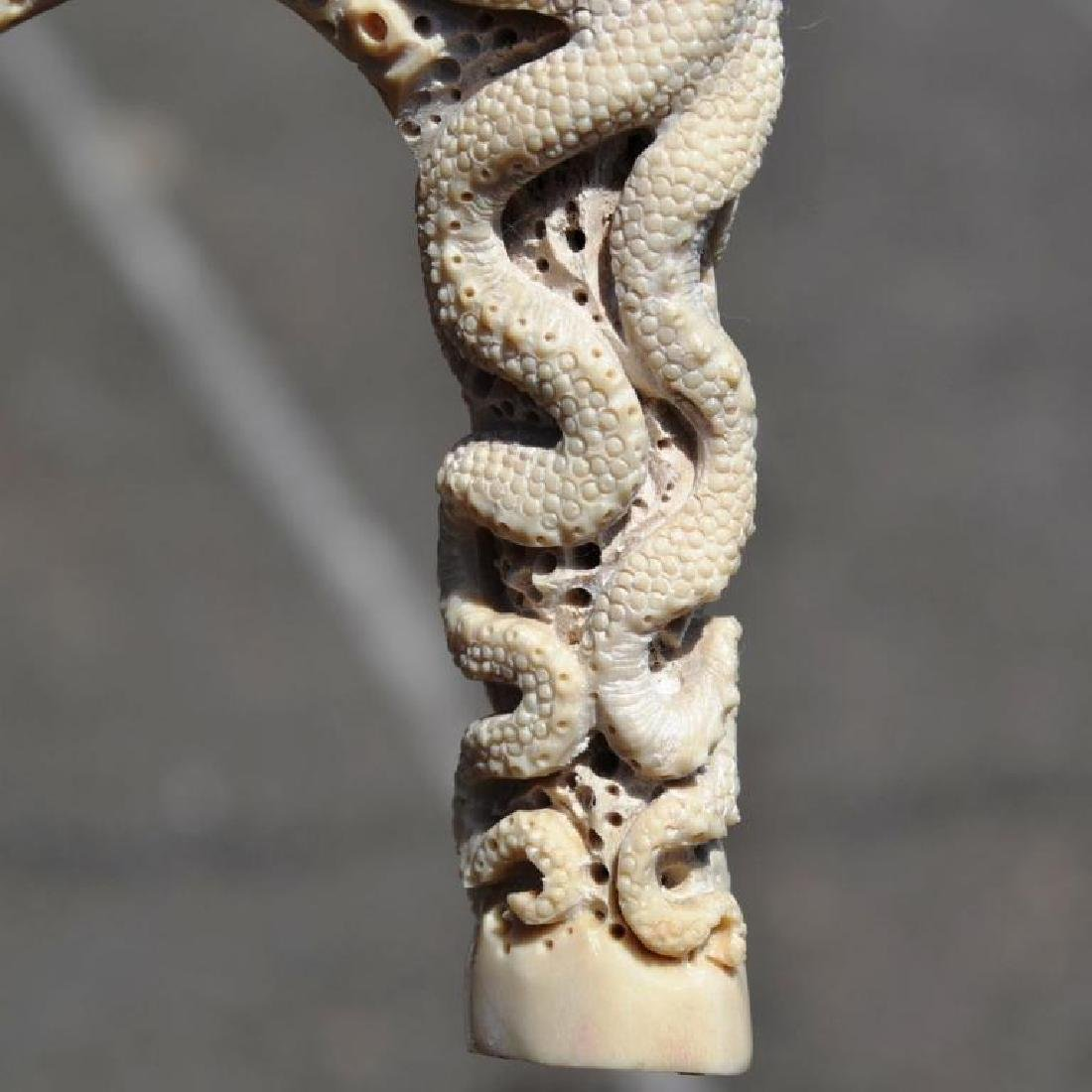 Carved Antler Octopus Squid Cane Handle - 7