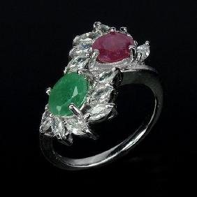 Natural Ruby & Emerald Sterling Ring