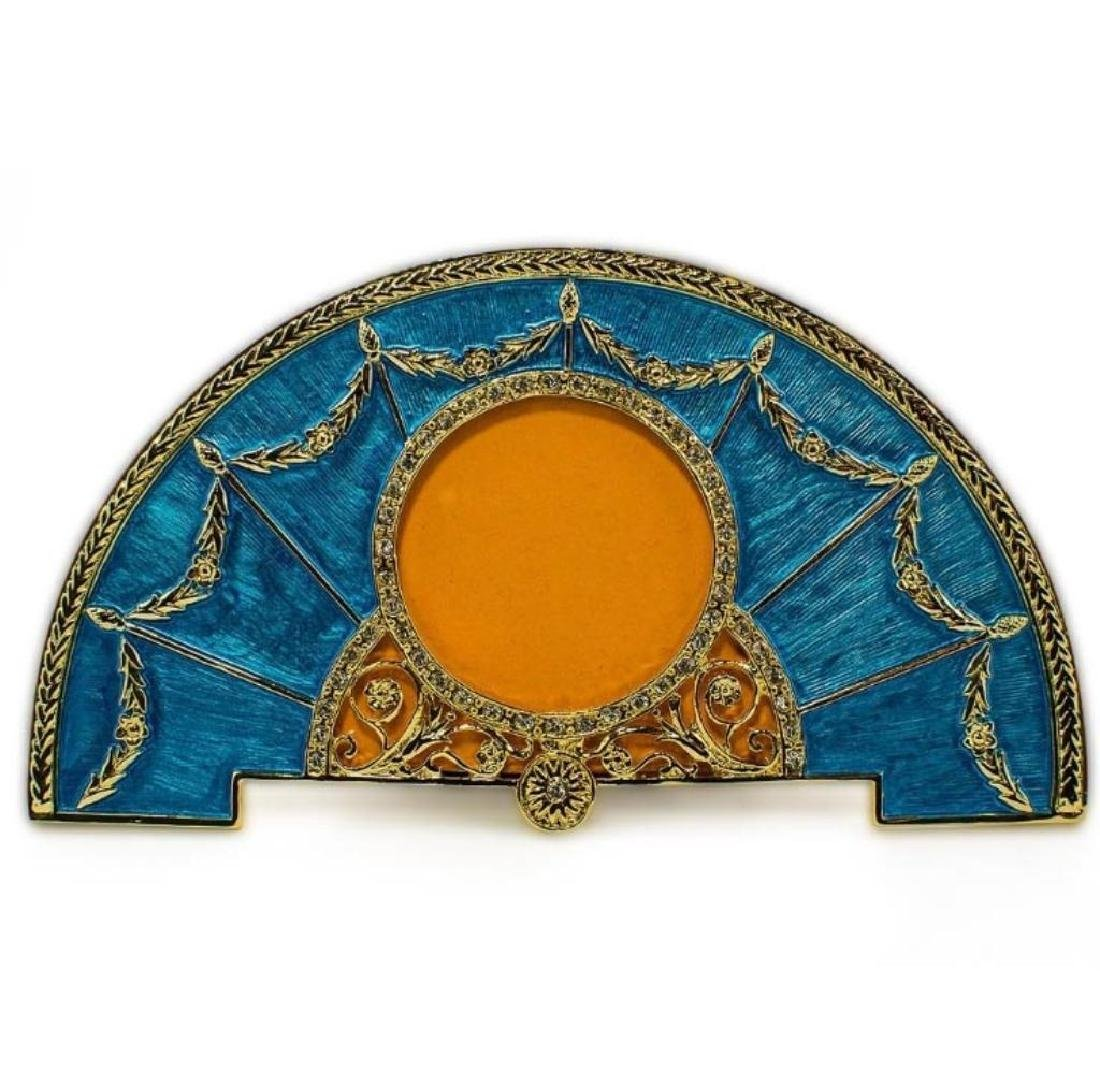 Faberge Inspired Blue Enameled Fan Frame