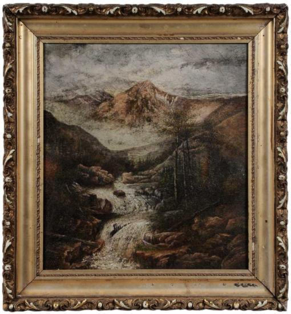 20thc Signed Western Landscape With Waterfall