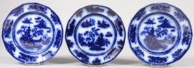 Group of 19thc Challinor Pelew Flow Blue Plates