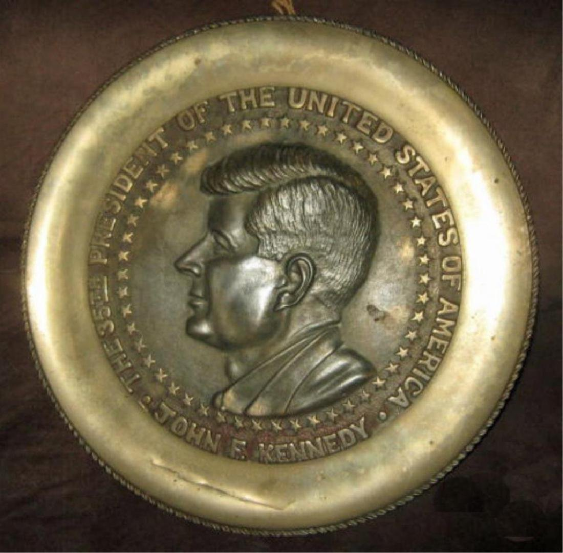 1960's John F. Kennedy Commemorative Brass Plaque