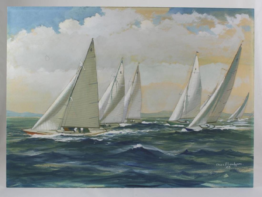 Original Watercolor, Charles Lundgren, Yachts