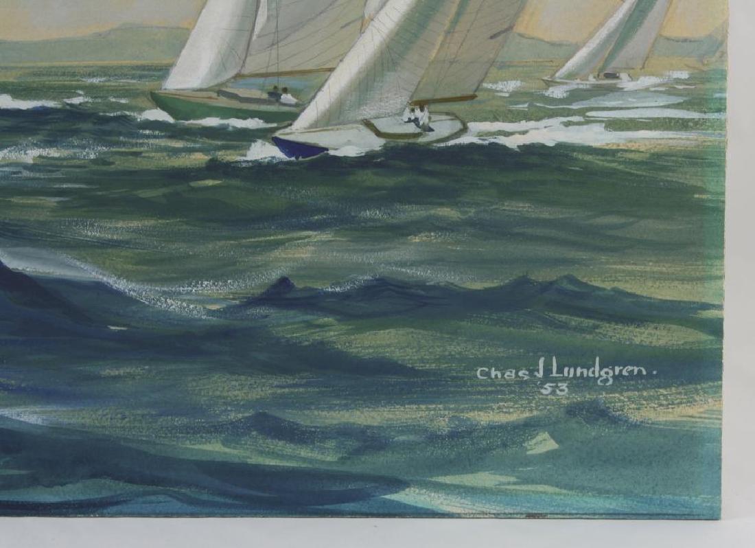 Original Watercolor, Charles Lundgren, Yachts - 3