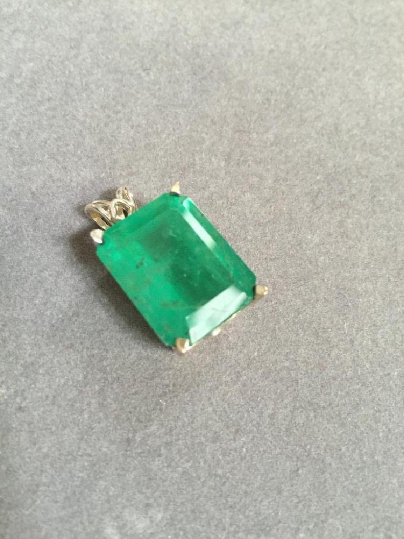 19.04cts Faceted Emerald Sterling Pendant