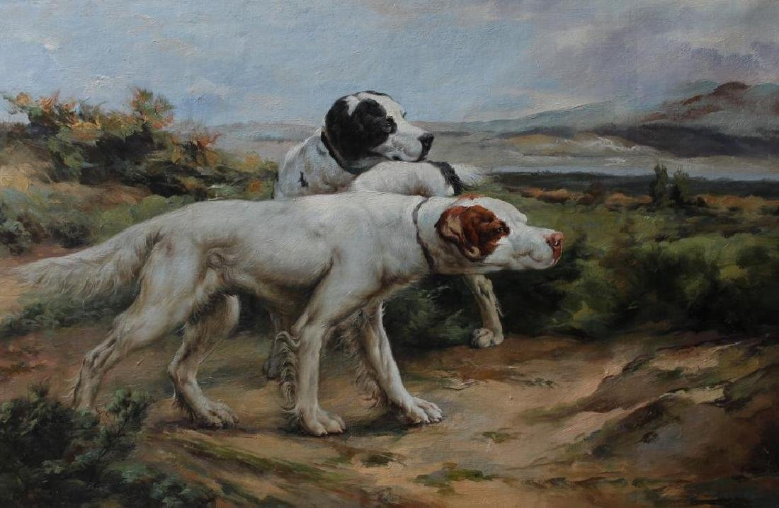 Oil on Canvas Hunting Scene, On Point