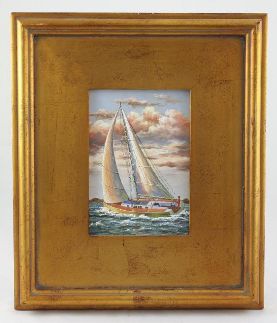 Framed Oil on Board Painting, Sailing Yacht