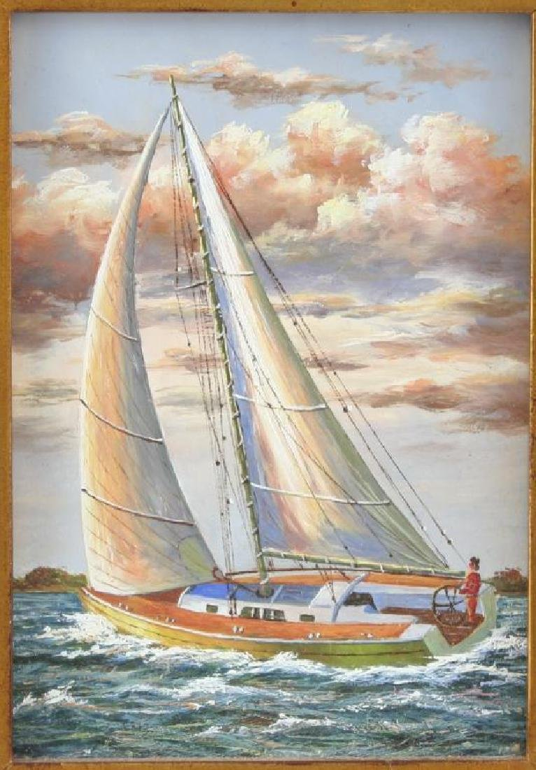 Framed Oil on Board Painting, Sailing Yacht - 2