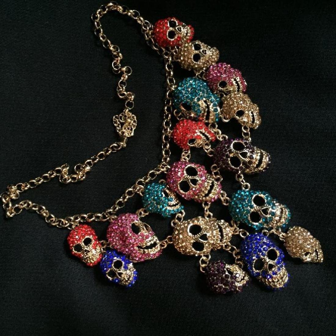 Multi Color Dangling Skeleton Skulls Necklace