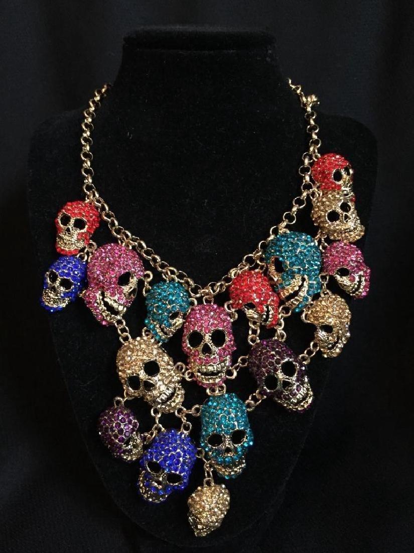 Multi Color Dangling Skeleton Skulls Necklace - 2