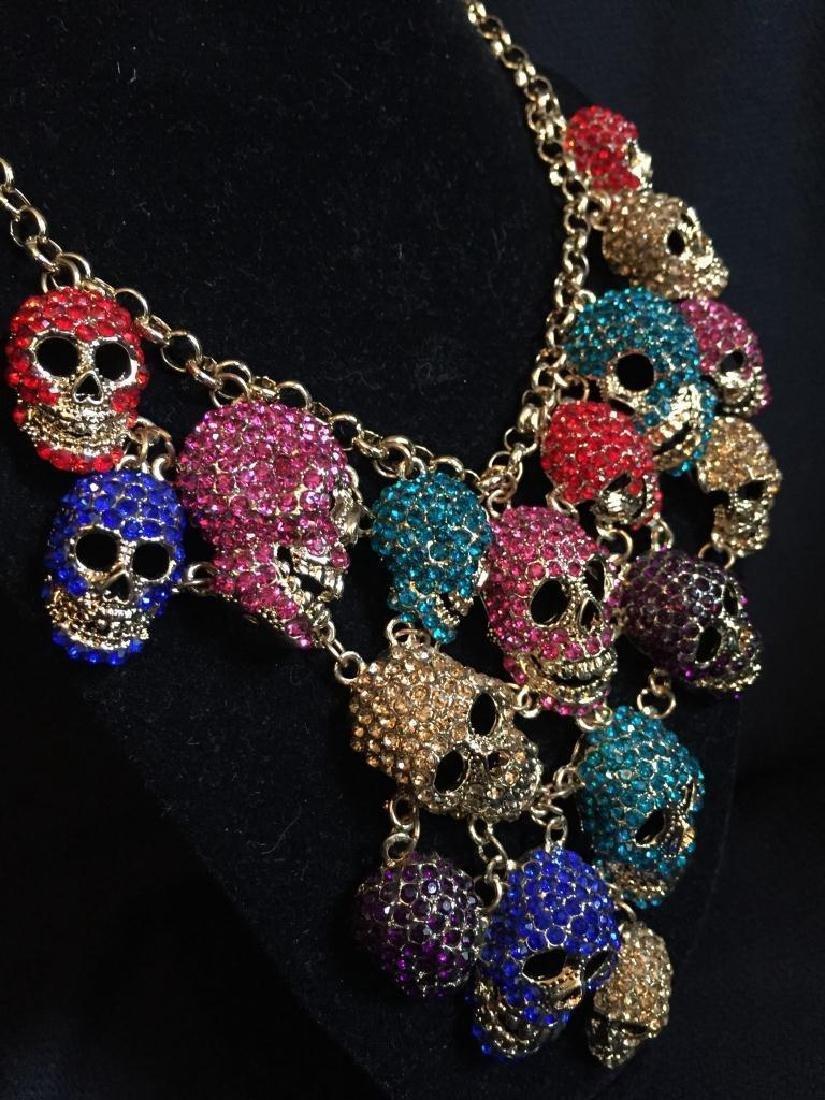 Multi Color Dangling Skeleton Skulls Necklace - 3
