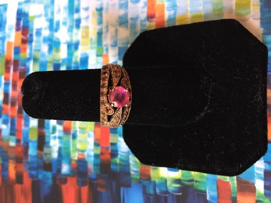 Pink Sapphire Rose Gold Ring - 4