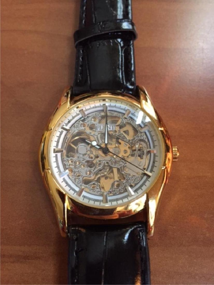Men's Gold Mechanical Skeleton Watch - 2