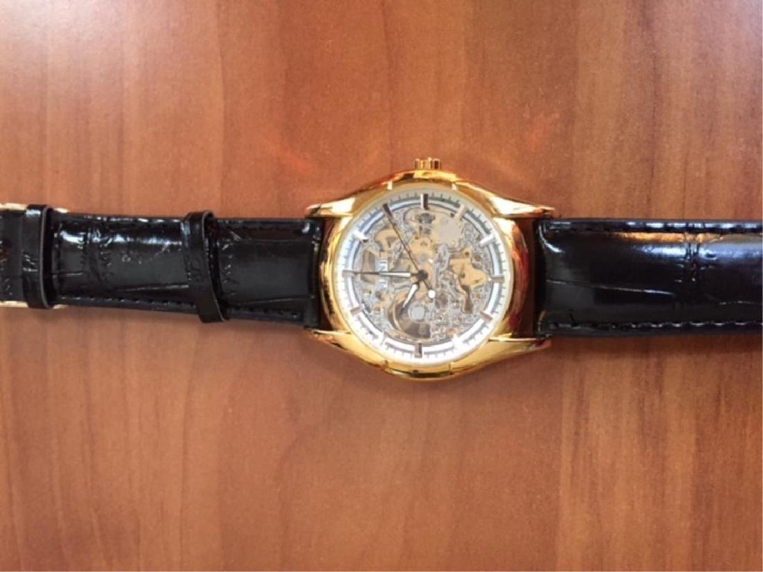 Men's Gold Mechanical Skeleton Watch - 3