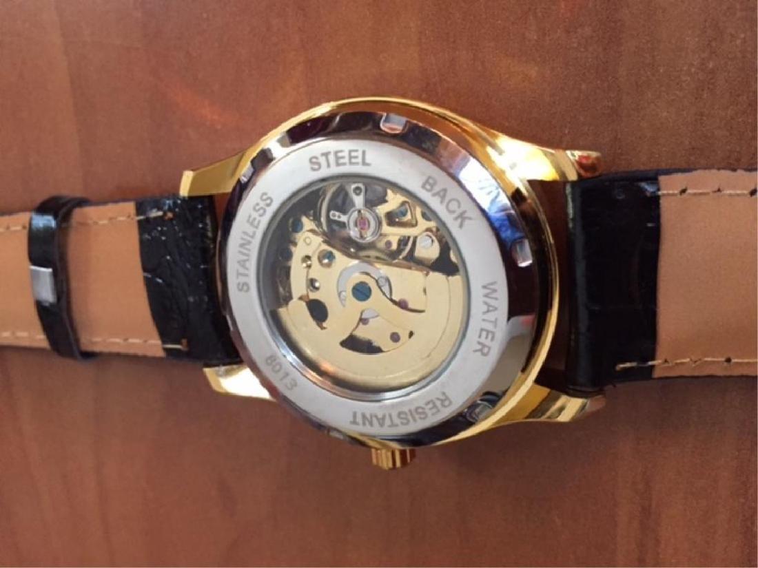Men's Gold Mechanical Skeleton Watch - 4