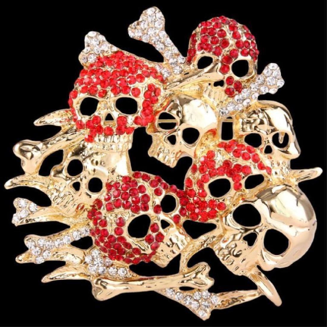 Skull & Bones Crystal Brooch Pin
