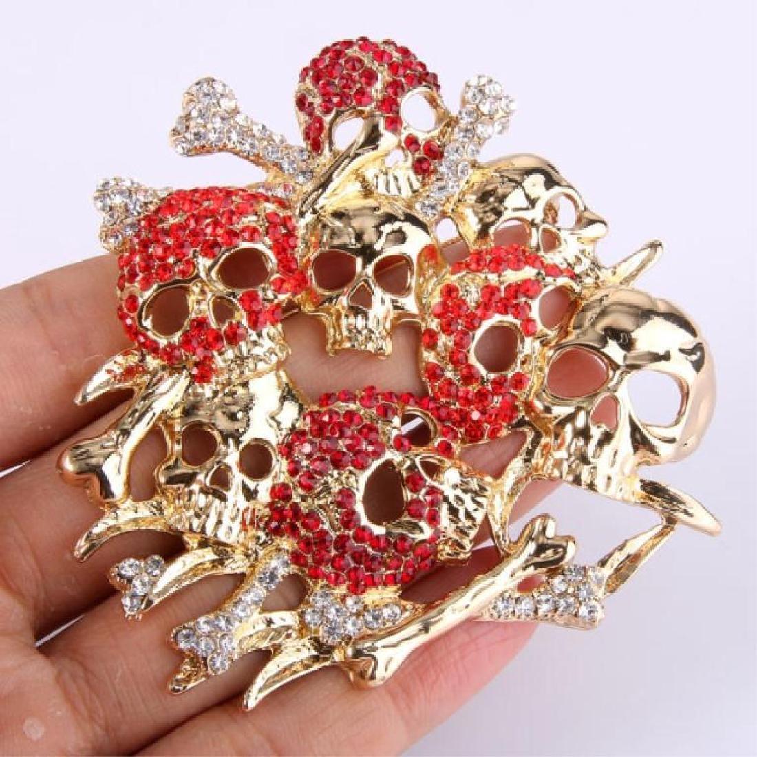 Skull & Bones Crystal Brooch Pin - 2