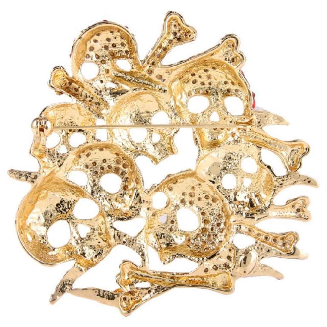 Skull & Bones Crystal Brooch Pin - 3