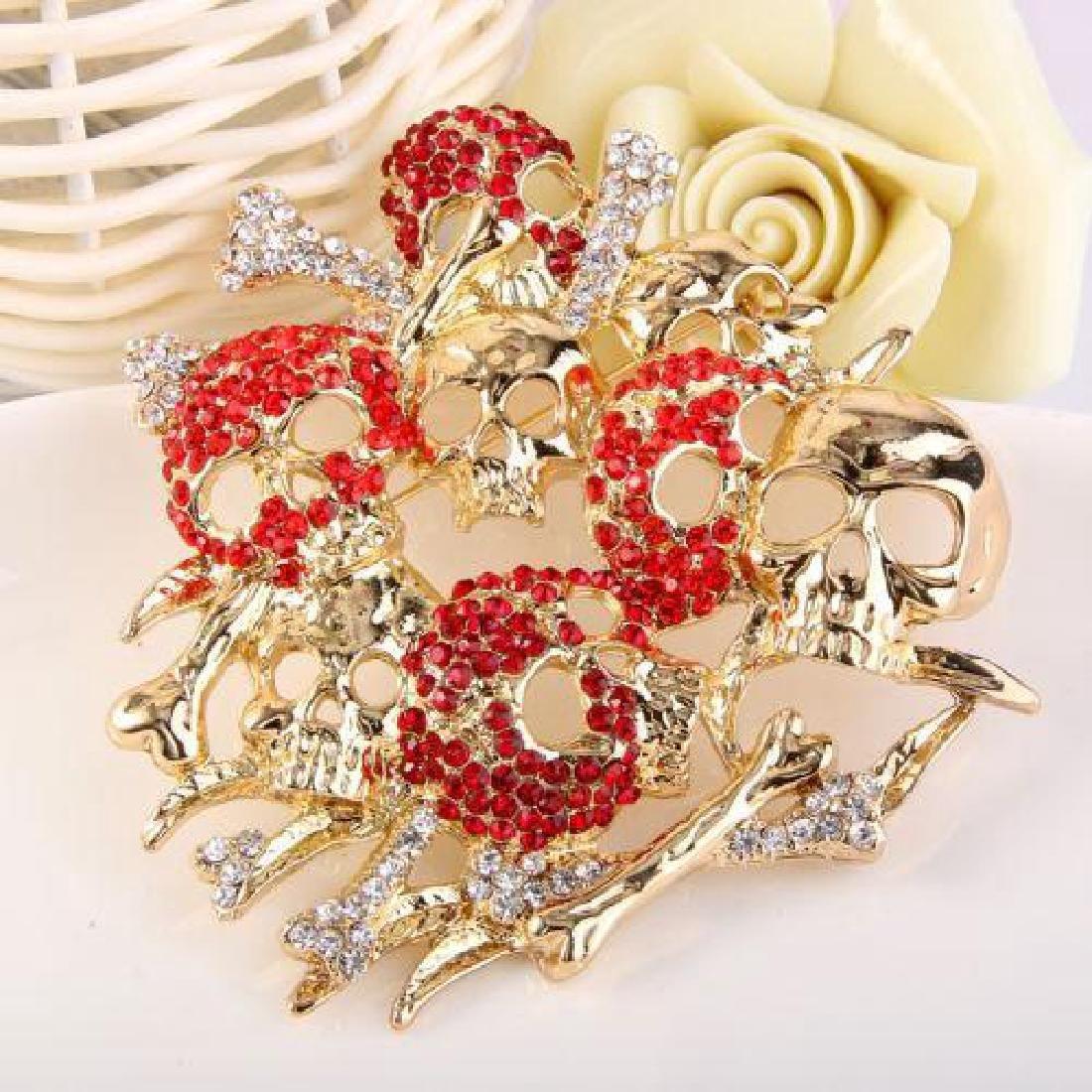 Skull & Bones Crystal Brooch Pin - 4