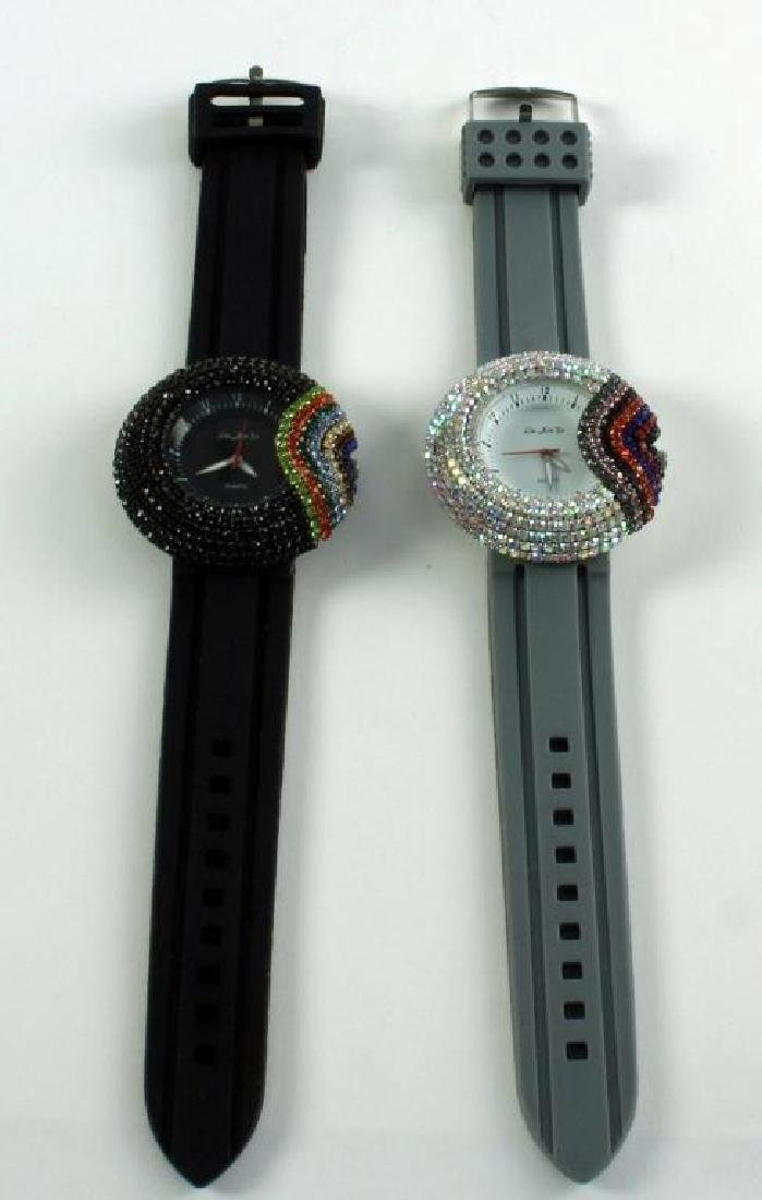 Pair Ladies Asian Rainbow Crystal Wristwatches