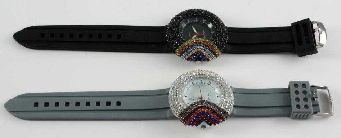 Pair Ladies Asian Rainbow Crystal Wristwatches - 2