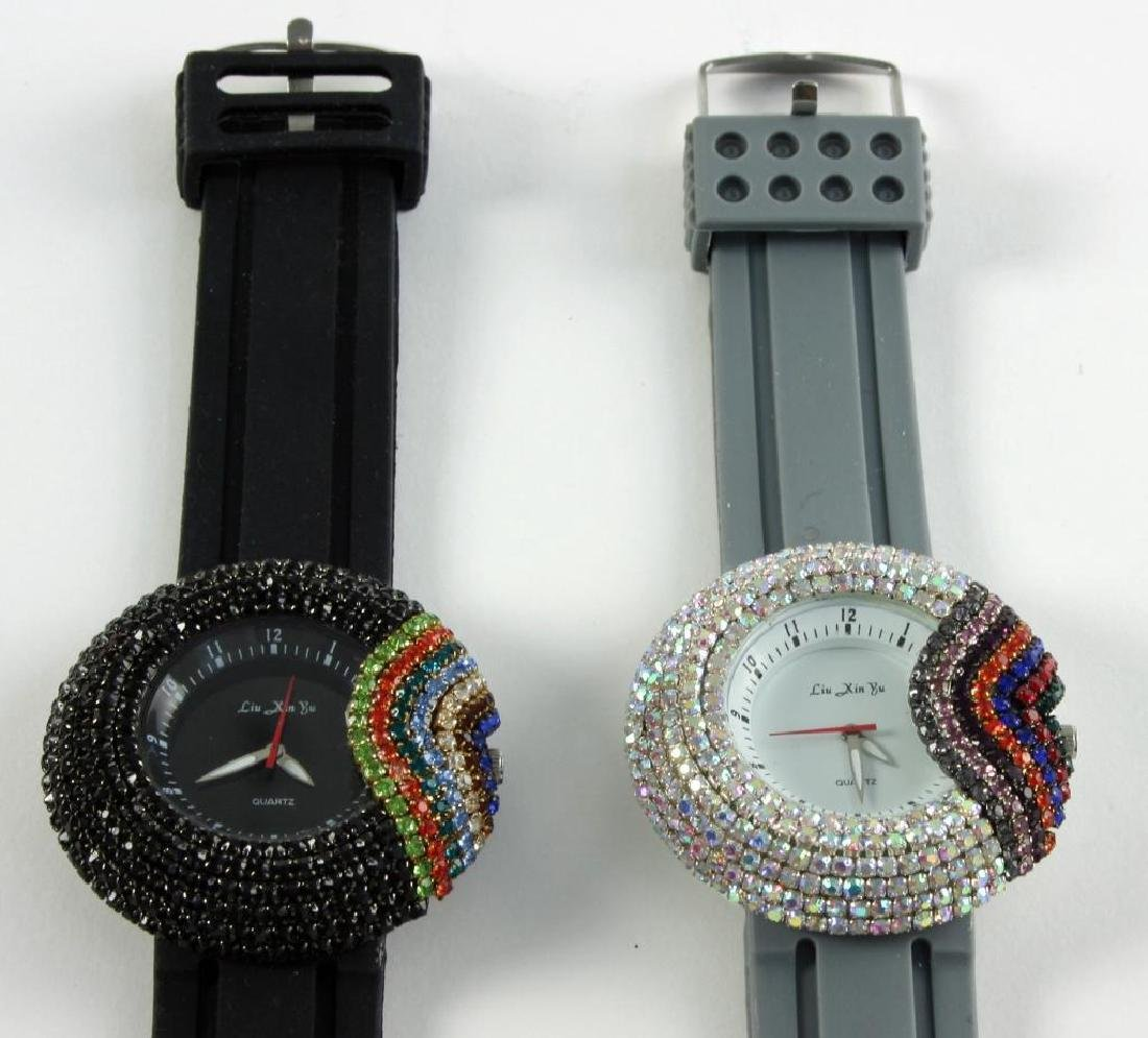 Pair Ladies Asian Rainbow Crystal Wristwatches - 3