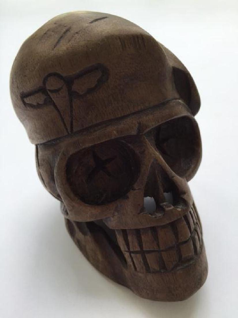 Hand-carved Wood Vietnam Military Skull