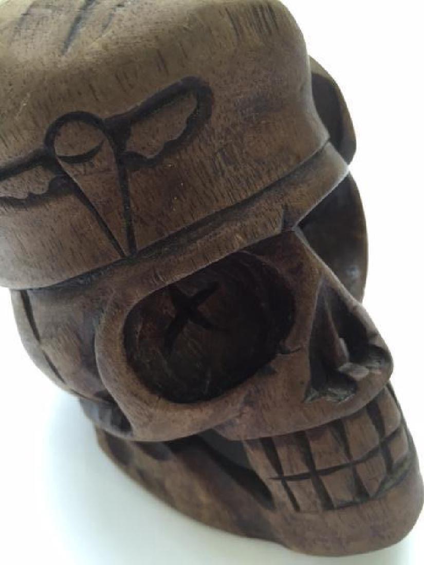 Hand-carved Wood Vietnam Military Skull - 2