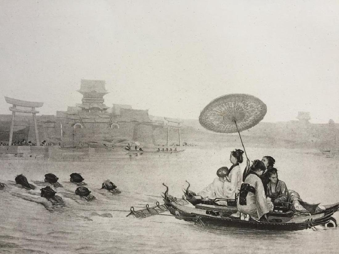 1880's Photogravure Print, The Japanese Ferry