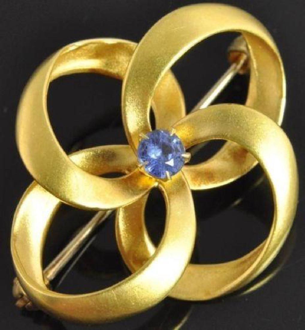 Antique Carter Gough 14kt Gold Sapphire Brooch
