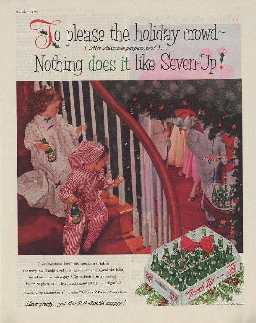 1956 Magazine Ad, 7 Up Soft Drink Christmas