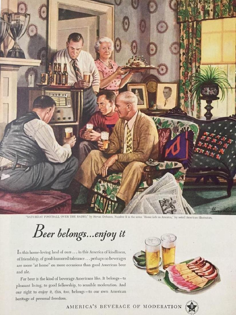 1947 US Brewers Football Beer Magazine Ad Art