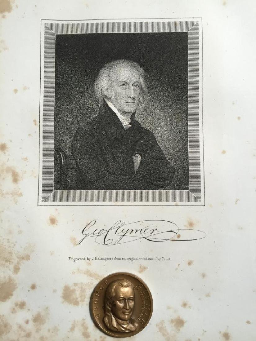 19thc Engraving & Medallion, Founding Father, MA