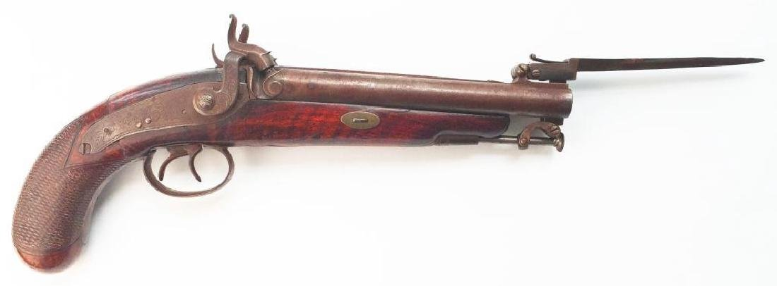 Pristine Double Barrel Bayonet Mounted 1850 Pistol