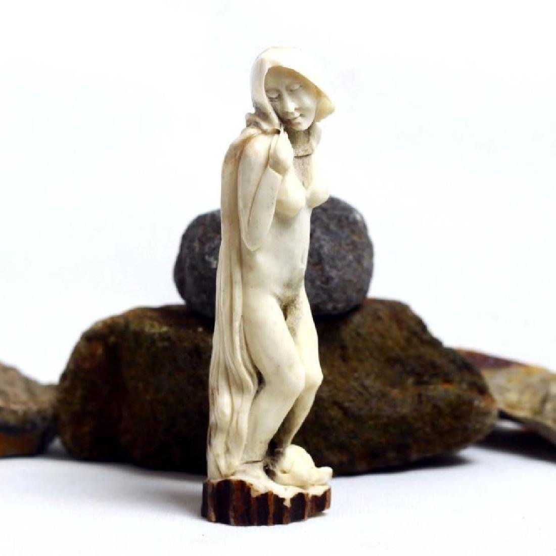 Carved Antler, Nude Woman Cane Handle