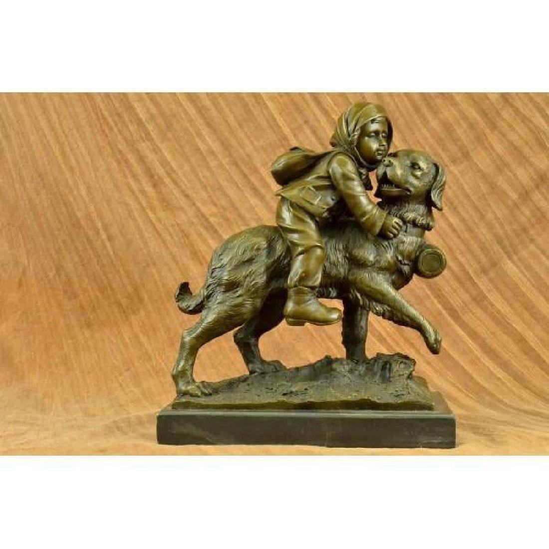 Chien Du St. Bernard by Guadez French Artist Bronze - 5