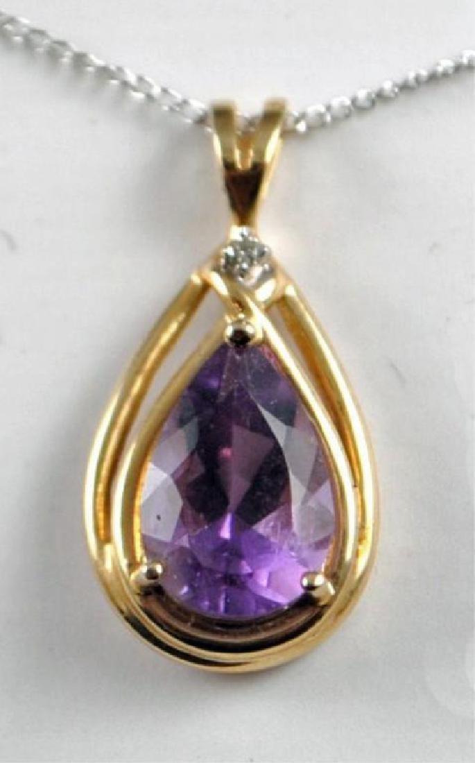 4ct Amethyst, 14kt Gold & Diamond Pendant