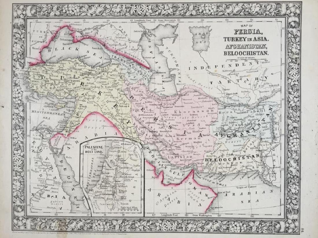 19thc Map of Persia, Turkey in Asia, Afghanistan