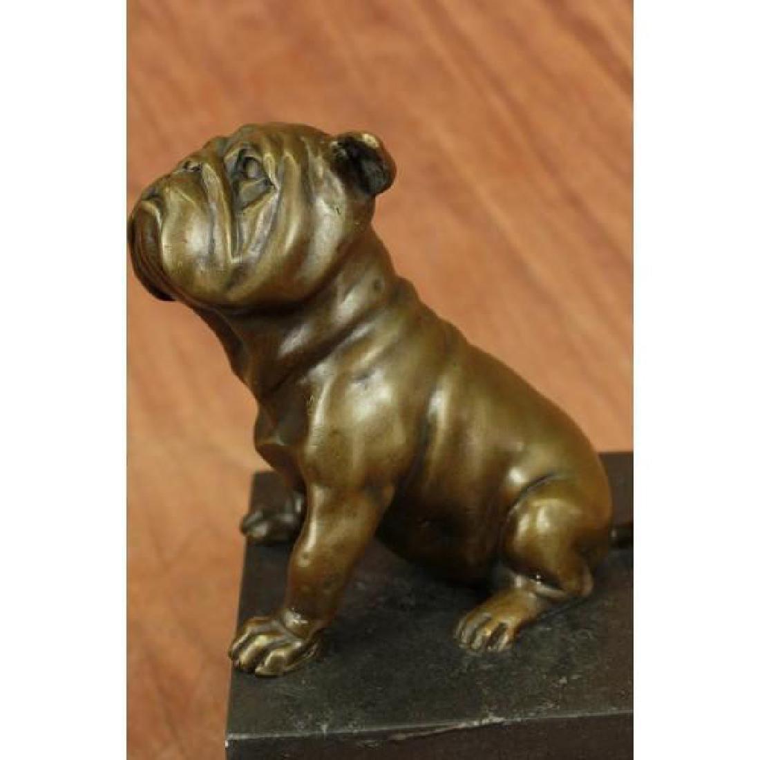15 LBS English Bulldog Dog Animal Bronze Sculpture - 3