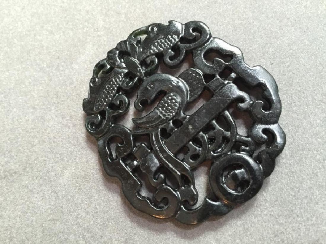 Carved Obsidian Phoenix Pendant
