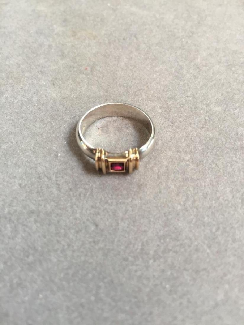 Tiffany & Co. 14kt & Sterling Ruby Ring - 3