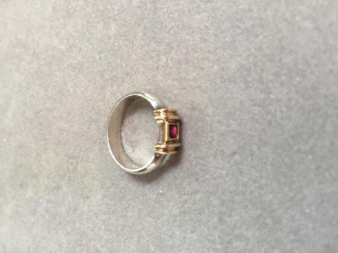 Tiffany & Co. 14kt & Sterling Ruby Ring - 4